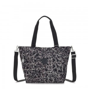 Black Friday 2020 - Kipling NEW SHOPPER S Small Shoulder Bag With Removable Shoulder Strap Navy Stick Print