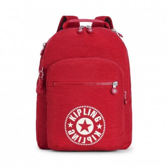 Kipling CLAS SEOUL Water Repellent Backpack with Laptop Compartment Lively Red