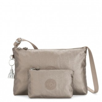 Kipling ATLEZ DUO Small Crossbody with Matching Pouch Metallic Pewter Gifting