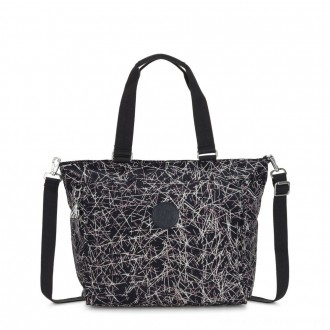 Kipling NEW SHOPPER L Large Shoulder Bag With Removable Shoulder Strap Navy Stick Print