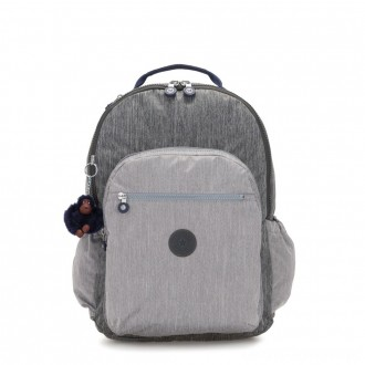 Kipling SEOUL GO XL Extra large backpack with laptop protection Ash Denim Bl