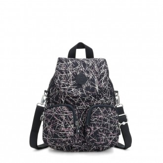 Black Friday 2020 - Kipling FIREFLY UP Small Backpack Covertible To Shoulder Bag Navy Stick Print