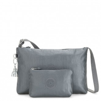 Black Friday 2020 - Kipling ATLEZ DUO Small Crossbody with Matching Pouch Steel Grey Gifting