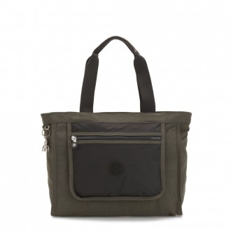 Kipling LEOTA Medium Tote Bag with Large Front Pocket Cold Black Olive