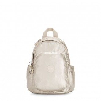 Kipling DELIA MINI Small Backpack with Front Pocket and Top Handle Cloud Metal