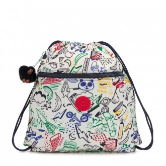 Black Friday 2020 - Kipling SUPERTABOO Medium Drawstring Bag Doodle Play Bl
