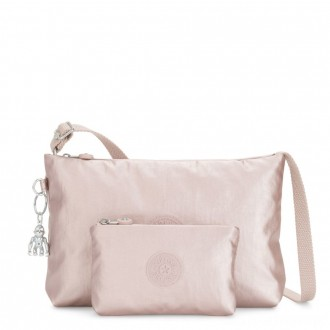 Kipling ATLEZ DUO Small Crossbody with Matching Pouch Metallic Rose Gifting