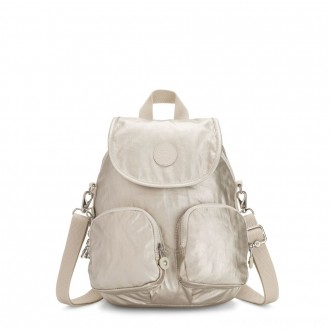 Kipling FIREFLY UP Small Backpack Covertible To Shoulder Bag Cloud Metal