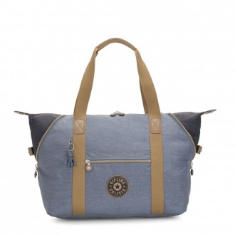 Kipling ART M Travel Tote With Trolley Sleeve Stone Blue Block