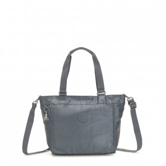 Black Friday 2020 - Kipling NEW SHOPPER S Small Shoulder Bag With Removable Shoulder Strap Steel Grey Metallic