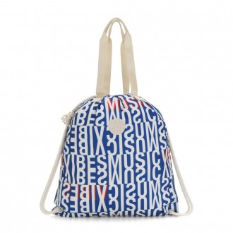 Kipling HIPHURRAY Graphic Medium Tote Bag Blue Studio Print