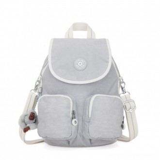 Kipling FIREFLY UP Small Backpack Covertible To Shoulder Bag Active Grey Bl