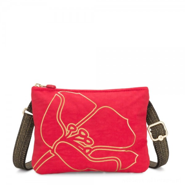 Kipling MAI POUCH Large Pouch Convertible to Crossbody Red Gold Flower