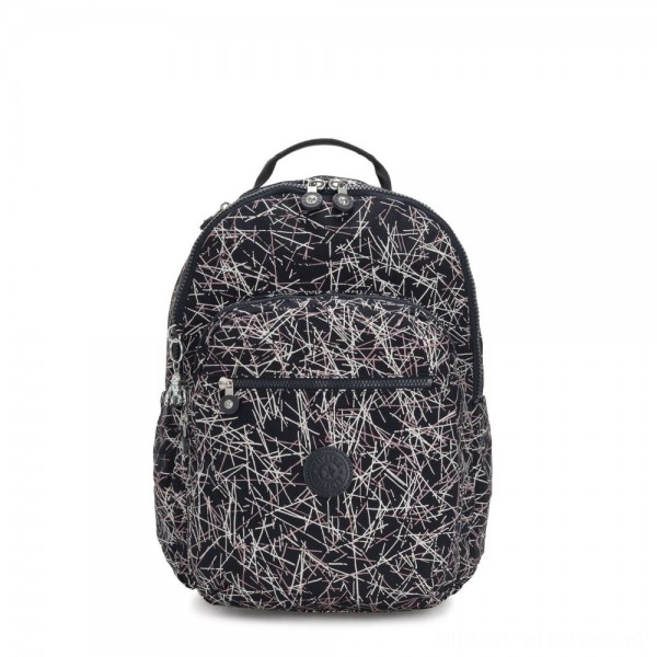 Kipling SEOUL Large Backpack with Laptop Compartment Navy Stick Print