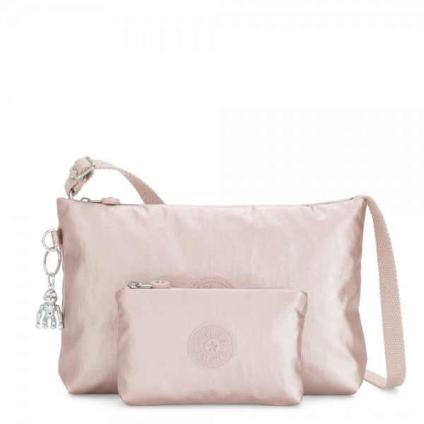 Black Friday 2020 - Kipling ATLEZ DUO Small Crossbody with Matching Pouch Metallic Rose Gifting