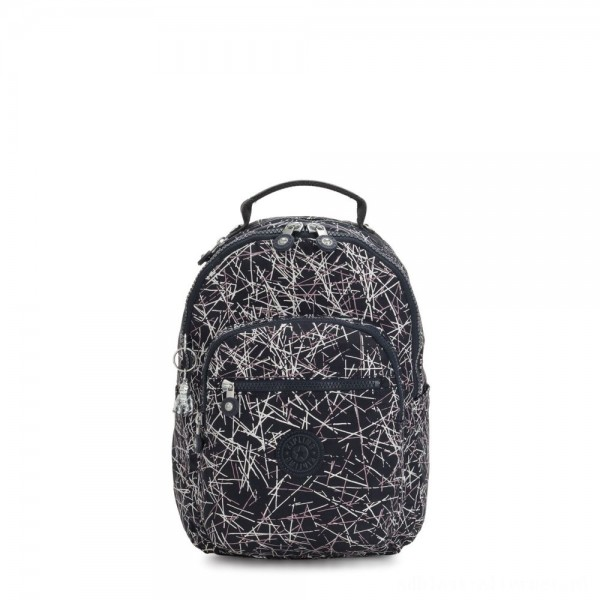 Kipling SEOUL S Small Backpack with Tablet Compartment Navy Stick Print