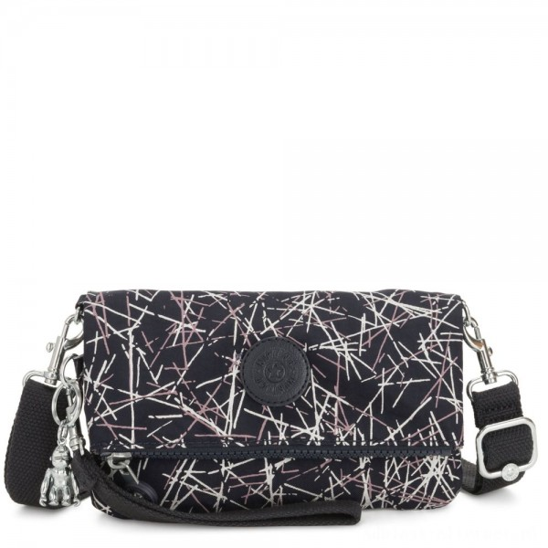 Black Friday 2020 - Kipling LYNNE Small crossbody Convertible to Bum Bag Navy Stick Print