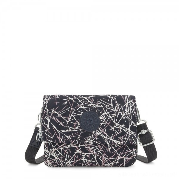 Black Friday 2020 - Kipling OSYKA 2 in 1 Crossbody and Pouch with Card Slots Navy Stick Print Gifting