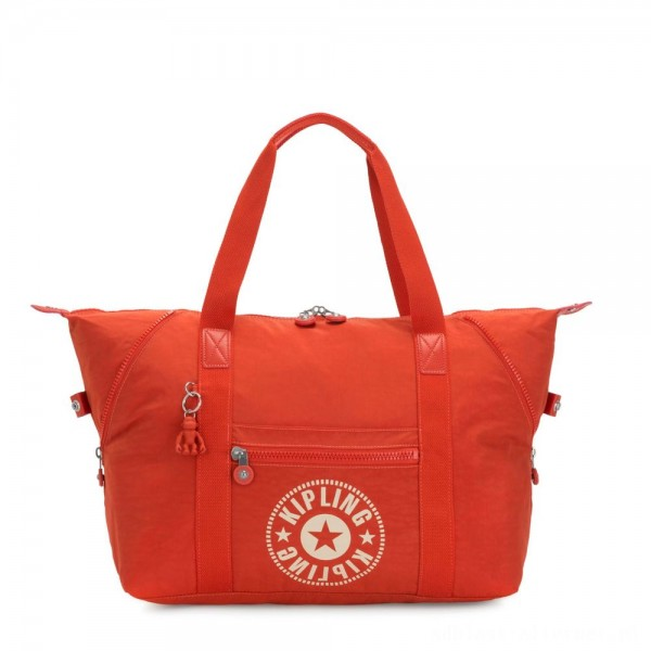 Black Friday 2020 - Kipling ART M Medium Tote Bag with 2 Front Pockets Funky Orange Nc