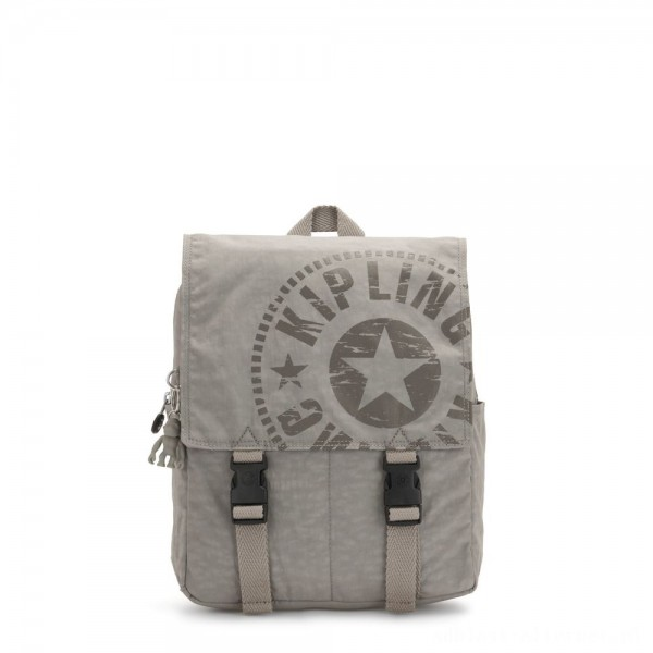 Black Friday 2020 - Kipling LEONIE S Small Drawstring Backpack with Push Buckle Rapid Grey