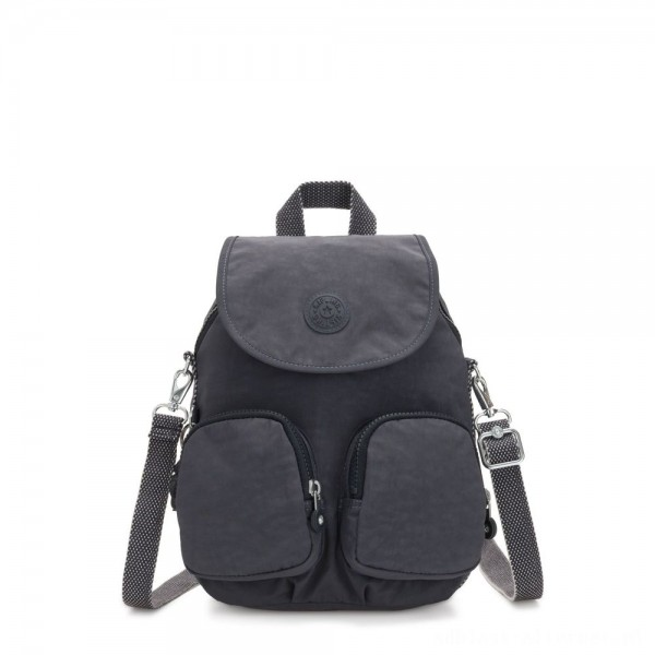 Kipling FIREFLY UP Small Backpack Covertible To Shoulder Bag Night Grey