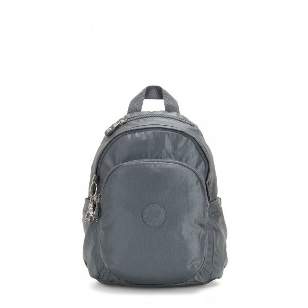Black Friday 2020 - Kipling DELIA MINI Small Backpack with Front Pocket and Top Handle Steel Grey Metallic