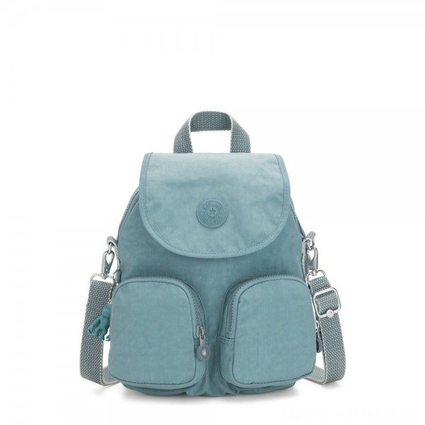Kipling FIREFLY UP Small Backpack Covertible To Shoulder Bag Aqua Frost