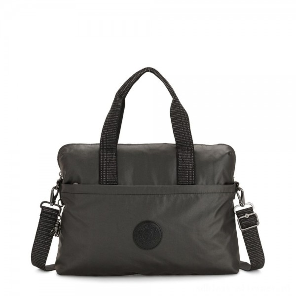 Black Friday 2020 - Kipling ELSIL Laptop Bag with Adjustable Strap Black Metallic
