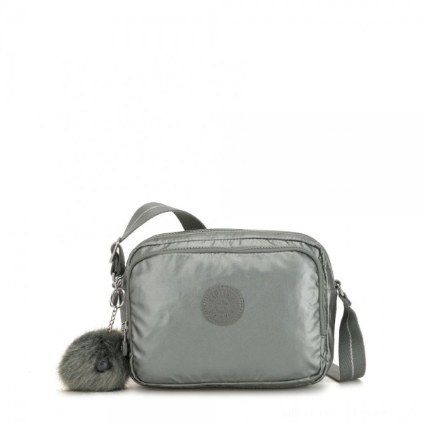 Kipling SILEN Small Across Body Shoulder Bag Metallic Stony