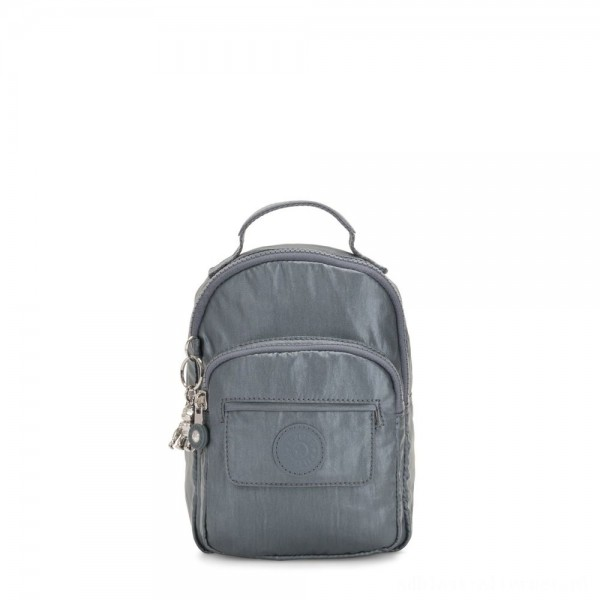 Kipling ALBER 3-In-1 Convertible Mini Backpack Crossbody Bumbag Steel Grey Metallic