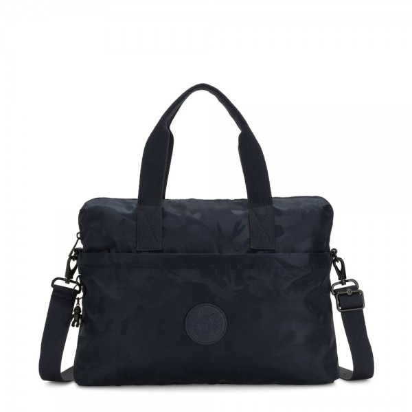 Black Friday 2020 - Kipling ELSIL Laptop Bag with Adjustable Strap Satin Camo Blue