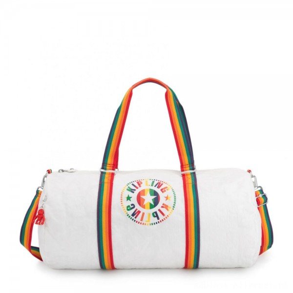 Black Friday 2020 - Kipling ONALO L Large Duffle Bag with Zipped Inside Pocket Rainbow White