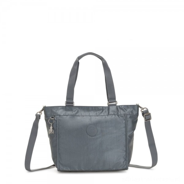 Kipling NEW SHOPPER S Small Shoulder Bag With Removable Shoulder Strap Steel Grey Metallic